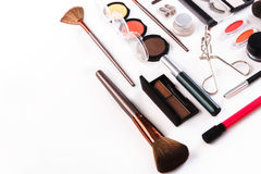 Makeup cosmetics tools and essentials, flat lay on white background Royalty Free Stock Photography