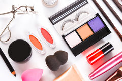 Makeup cosmetics tools and essentials, flat lay on white background Stock Photography