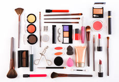 Makeup cosmetics tools and essentials, flat lay on white background Stock Photos