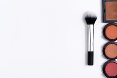 Makeup cosmetics tools and essentials frame background, copy space Royalty Free Stock Image