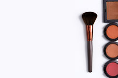 Makeup cosmetics tools and essentials frame background, copy space Royalty Free Stock Photos