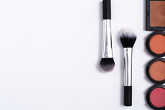 Makeup cosmetics tools and essentials frame background, copy space Royalty Free Stock Images
