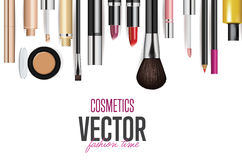Makeup cosmetics tools. Fashion vector background. Beauty isolated cosmetic product packaging. Makeup brush Royalty Free Stock Photos