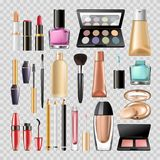 Makeup cosmetics woman make-up skincare accessory vector icons isolated set. Makeup cosmetics or woman beauty make-up acessory tools of mascara eyeliner, nail Royalty Free Stock Photos