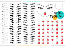 Makeup creator. Set for fashion modeling female faces. Face chart Stock Photography