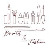 makeup Dekorativa skönhetsmedel, skönhetsmedelolja vektor illustrationer