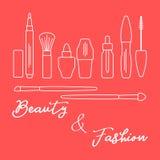 makeup Dekorativa skönhetsmedel, skönhetsmedelolja stock illustrationer