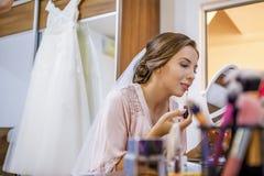 Makeup dla panny młodej w dniu ślubu Obraz Royalty Free