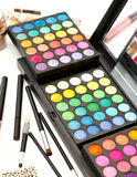 Makeup equipment with brushes Stock Photography