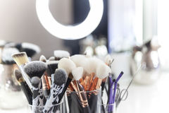 Makeup equipment on table Stock Image