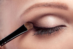 Makeup. Eye shadow brush royalty free stock photos