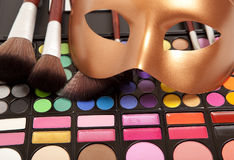 Makeup eye shadows and mask Royalty Free Stock Image