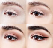 Makeup on eye step by step. Close-up shot. Royalty Free Stock Image