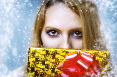 Makeup for eyes and christmas giftbox Royalty Free Stock Image