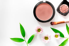 Makeup. Eyeshadow, brush and blush on white table background top view Stock Photography