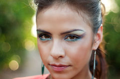 Makeup för Beautidul kattöga Arkivbild
