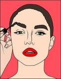 Makeup för popkonst Closeupen av den sexiga flickan målar hennes kanter med läppstift i hennes hand och tomma anförandebubbla fär stock illustrationer