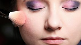 Makeup face applying rouge  blusher Royalty Free Stock Photography