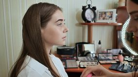 Makeup Face. Girl make-up artist treats face with a swab. stock video
