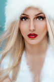 Makeup face woman's with fur. Fur beauty. Portrait of beautiful blond woman with fur hat and red lipstick over a blue background stock image