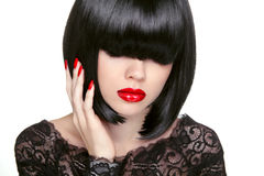 Makeup. Fashion bob Haircut. Hairstyle. Long Fringe. Short Hair Royalty Free Stock Images