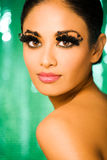 Makeup Forever Eyelashes. Beauty Portrait of Indian Model with Dramatic Eyelashes Royalty Free Stock Image