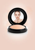 Makeup foundation powder case with beautiful model Stock Images