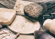 Makeup foundation products. Corrective make-up set. Close-up, selective focus Stock Image