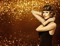 Makeup för frisyr för modekvinna Retro, flicka för dam Hair Style Model Royaltyfri Foto