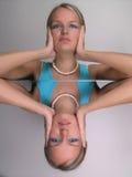 Makeup Girl on Mirror Stock Photo