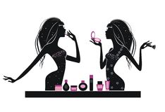 Makeup. Girls with makeup at the table isolated on a white background stock illustration