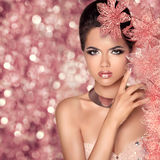 Makeup. Glamour Fashion Portrait of Beautiful Attractive Girl Wi Stock Photo