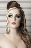 French braid. Makeup and hair artistry beauty fashion portrait royalty free stock photography