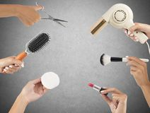 Makeup and hairstyle tools Stock Photos