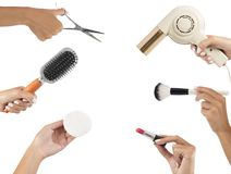 Makeup and hairstyle tools Royalty Free Stock Images