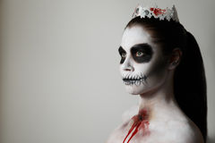 Makeup for halloween. gray background, isolated. Halloween. Creative image. Facial mask Stock Photos