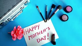 Makeup for a happy mother`s day royalty free stock photo