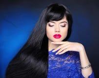 Makeup. Healthy hair. Beauty girl portrait. Beautiful brunette y Stock Image