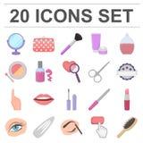Makeup i kosmetyk kreskówki ikony w ustalonej kolekci royalty ilustracja