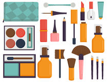 Free Makeup Icons Perfume Mascara Care Brushes Comb Faced Eyeshadow Glamour Female Accessory Vector. Royalty Free Stock Photos - 92743078