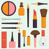 Makeup icons perfume mascara care brushes comb faced eyeshadow glamour female accessory vector. Royalty Free Stock Photo