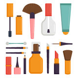 Makeup icons perfume mascara care brushes comb faced eyeshadow glamour female accessory vector. Stock Photography