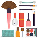 Makeup icons perfume mascara care brushes comb faced eyeshadow glamour female accessory vector. Makeup icons perfume mascara care brushes and comb faced Stock Photo
