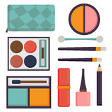 Makeup icons perfume mascara care brushes comb faced eyeshadow glamour female accessory vector. Royalty Free Stock Photos