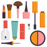 Makeup icons perfume mascara care brushes comb faced eyeshadow glamour female accessory vector. Stock Photo