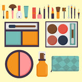 Makeup icons perfume mascara care brushes comb faced eyeshadow glamour female accessory vector. Royalty Free Stock Images