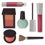 Makeup icons perfume mascara care   Royalty Free Stock Photos