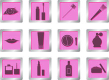 Makeup icons on square buttons Royalty Free Stock Photography
