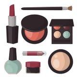 Makeup ikon pachnidła tusz do rzęs opieki muśnięć grępla stawiał czoło eyeshadow splendoru żeńskiego akcesoryjnego wektor royalty ilustracja
