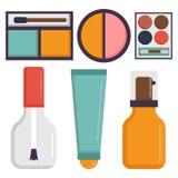 Makeup ikon pachnidła tusz do rzęs opieki muśnięć grępla stawiał czoło eyeshadow splendoru żeńskiego akcesoryjnego wektor ilustracja wektor